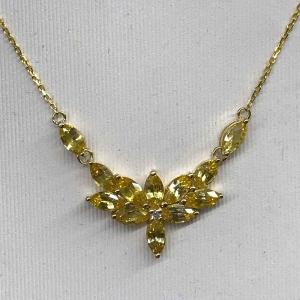 3.400克拉黄蓝宝钻石项坠