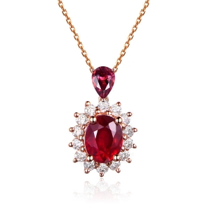 鸽血红红宝石钻石吊坠