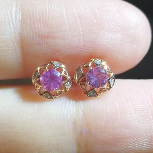 粉蓝宝钻石耳钉