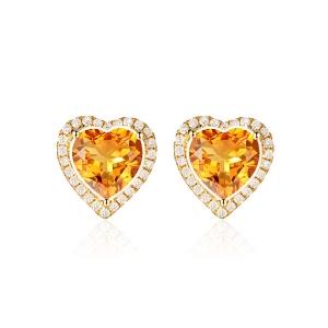黄色蓝宝石钻石耳钉