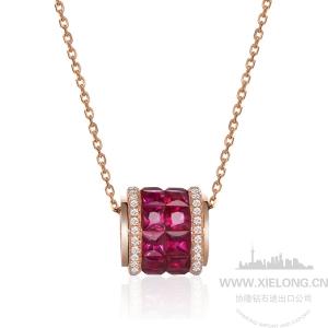 1.23克拉红宝石钻石吊坠