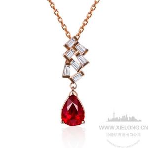 1.03克拉无烧红宝石钻石吊坠