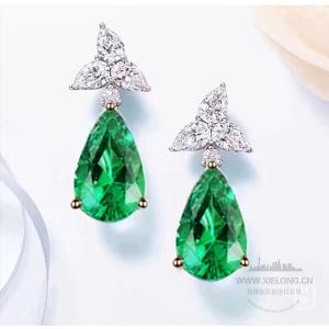 0.965克拉祖母绿钻石耳钉