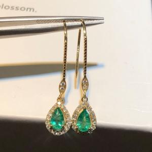 0.925克拉祖母绿 40分钻石耳钉
