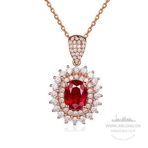 1.030克拉鸽血红红宝石钻石吊坠