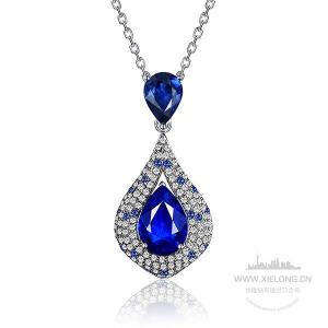 2.670克拉TGL无烧皇家蓝蓝宝石钻石吊坠