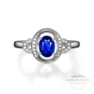 1.05克拉CGJ无烧蓝宝石钻石戒指