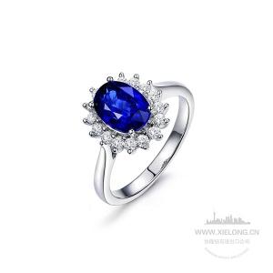 1.010克拉蓝宝石钻石戒指
