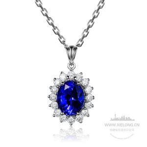 0.790克拉蓝宝石钻石吊坠