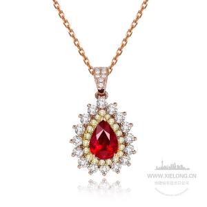 1.040克拉GIC无烧红宝石钻石吊坠