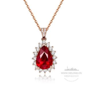 0.960克拉GRC无烧红宝石钻石吊坠