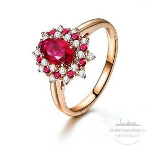 0.910克拉无烧红宝石钻石戒指