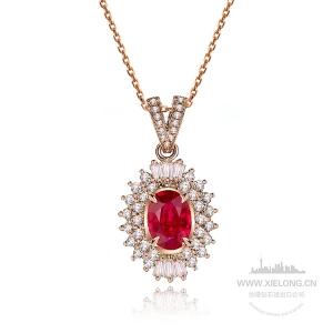 1.000克拉GRC红宝石钻石吊坠