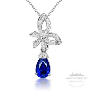 0.660克拉蓝宝石钻石吊坠