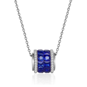1.78克拉蓝宝石钻石吊坠