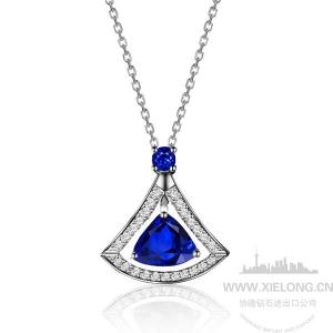 0.830克拉蓝宝石钻石项坠