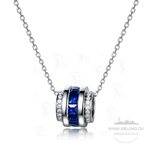 0.850克拉蓝宝石钻石吊坠