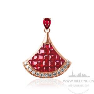 1.147克拉红宝石钻石吊坠